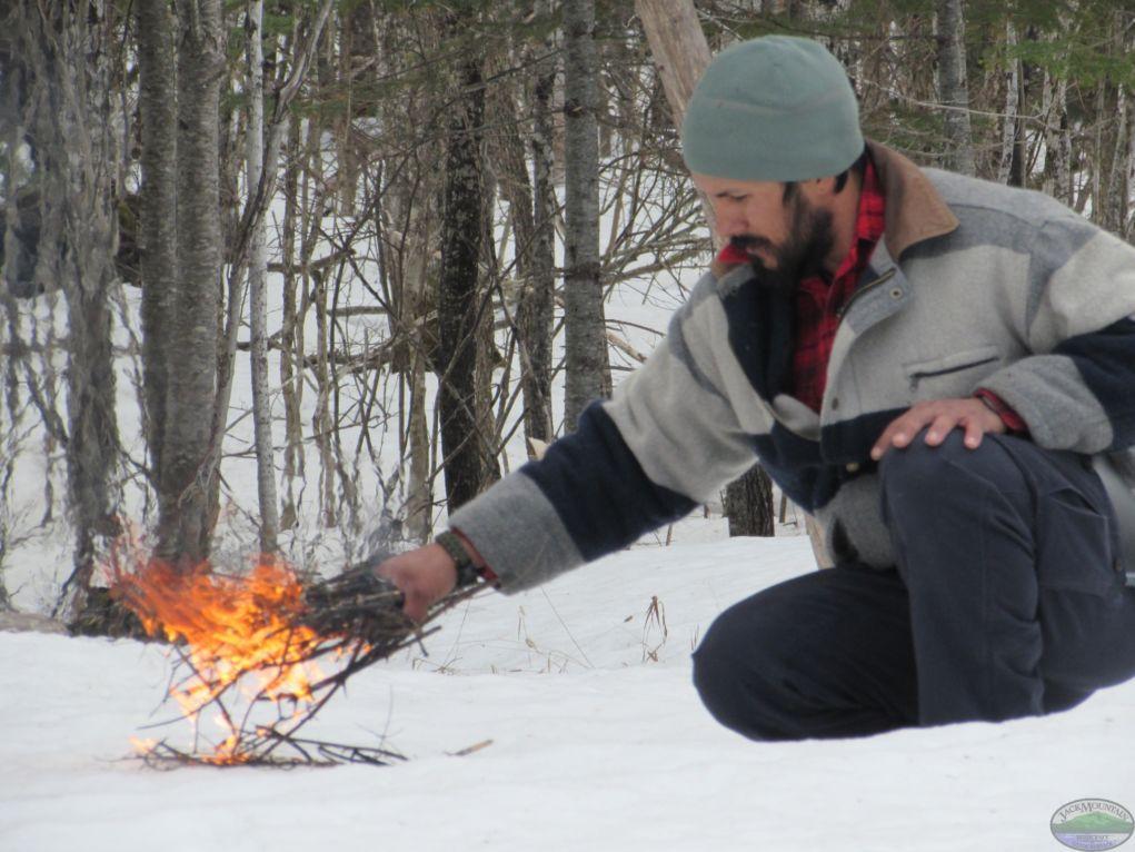 Twig Bundle Fire On Snow                                   JackMtn.com