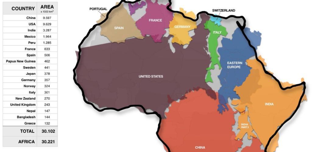 Вистинската големина на Африка