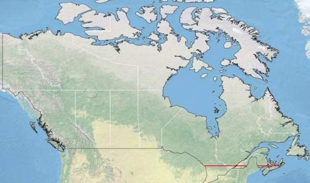 50  од Канаѓаните живеат јужно од црвената линија